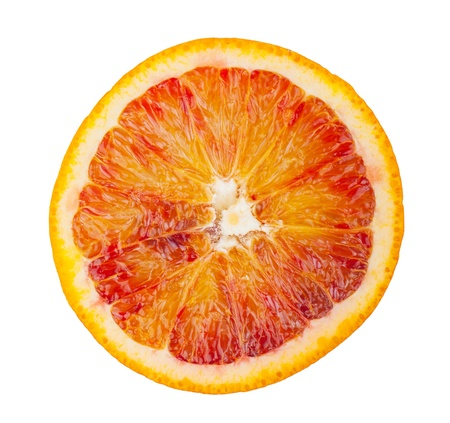 Slice of blood red orange isolated on white background photo