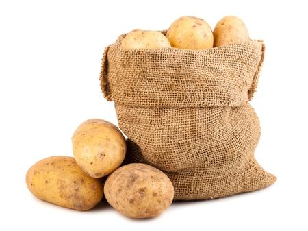 Sack of ripe potatoes isolated on white background photo