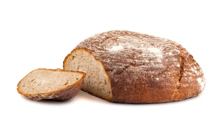 Fresh sliced rye round bread isolated on white background  photo
