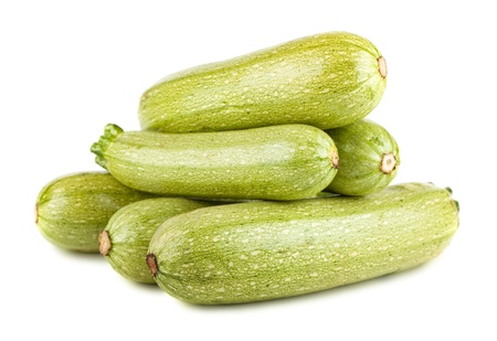 vegetable marrow: Heap of ripe vegetable marrows isolated on white background