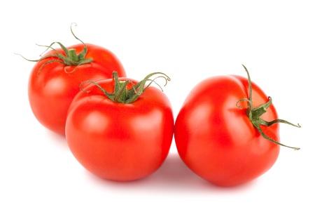 Three ripe tomato isolated on white background Stock Photo - 19551351
