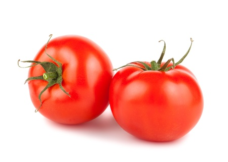 Pair of ripe red tomatoes isolated on white background Stock Photo - 19788812