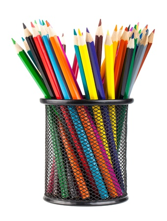 Various color pencils in black metal container isolated on white background photo
