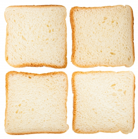 Collection of bread slices isolated on white background