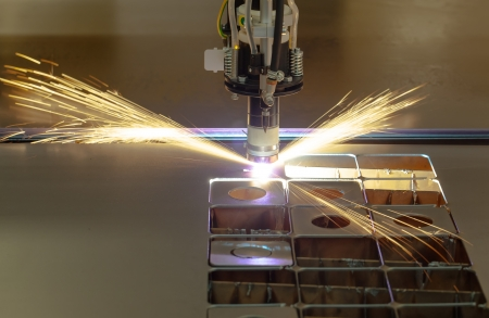 plasmas: Plasma cutting process of metal material with sparks