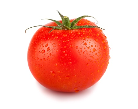 Single red tomato with water drops isolated on white background Standard-Bild