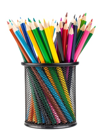 Various color pencils in metal container isolated on white background photo