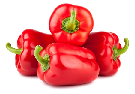 Four sweet peppers isolated on white background