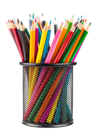 pencil holder: Various color pencils in black metal container isolated on white background