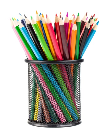 pencil holder: Various color pencils in black office cup isolated on white background Stock Photo