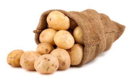 Burlap sack with potato isolated on white background photo