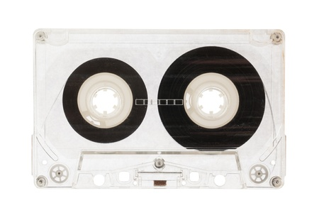 audio cassette: Audio cassette top view isolated on a white background Stock Photo