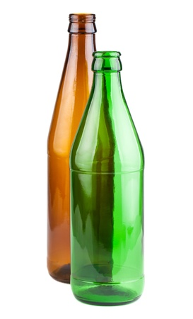 Two empty green and brown beer bottles isolated on white background photo