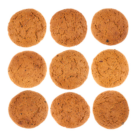Fresh oatmeal cookies top view collection isolated on white background photo
