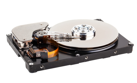 hard disk drive: Opened hard drive isolated on a white background