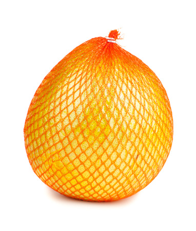 reticle: Wrapped in plastic reticle ripe pomelo isolated on white background