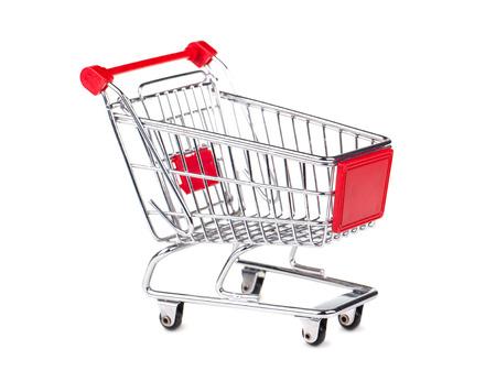 carro supermercado: Carrito vacío aislada sobre fondo blanco Foto de archivo