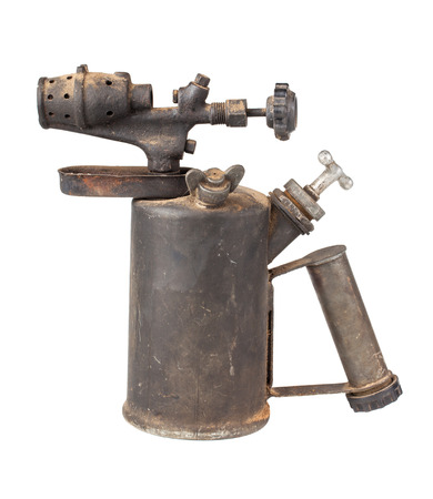 blowtorch: Vintage rusty blowtorch isolated on white background