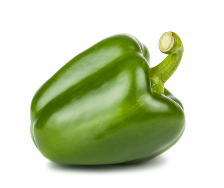 capsicums: Green sweet pepper isolated on white background