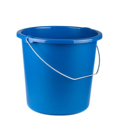 Single blue bucket isolated on a white background