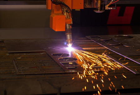 Industrial plasma cutting machine. When his work sparks fly.
