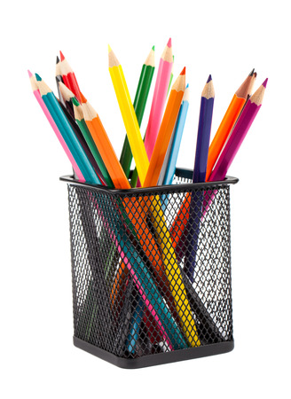 color: Various color pencils in black metal container isolated on white background