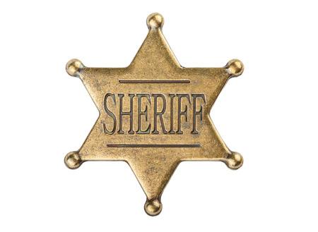 흰색 배경에 고립 된 빈티지 보안관 스타 배지 스톡 콘텐츠