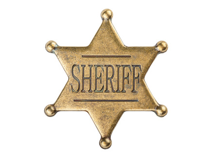 west: Vintage sheriff star badge isolated on white background