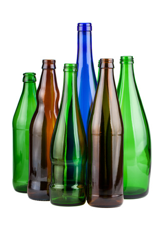 unlabeled: Six empty unlabeled bottles isolated on white background Stock Photo