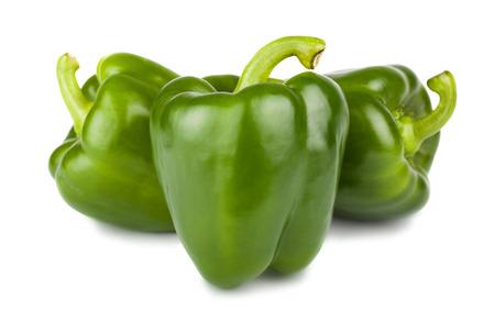 Tre peperoni verdi dolci isolati su fondo bianco Archivio Fotografico - 34005711