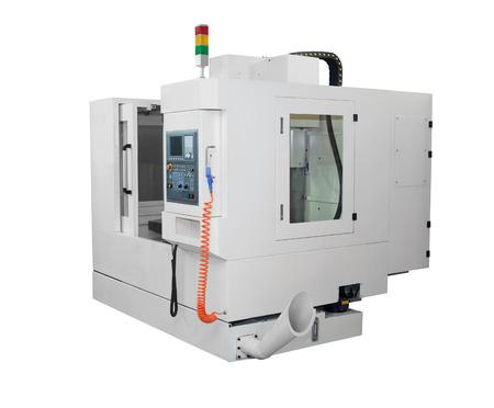 Metaalbewerking machines - CNC draaibank machine op een witte achtergrond Stockfoto