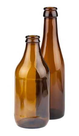 brown bottles: Pair of empty brown bottles isolated on white background Stock Photo