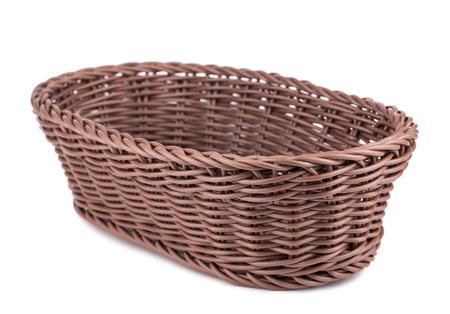 braiding: Braiding small wicker basket isolated on white background