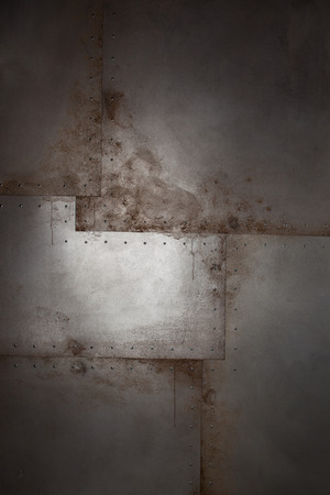 paint drips: Grunge metal background with rivets and paint drips Stock Photo