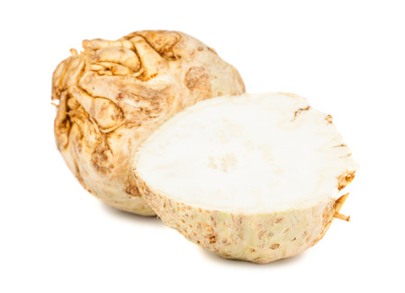 celery: Full and half of celery root isolated on white background Stock Photo