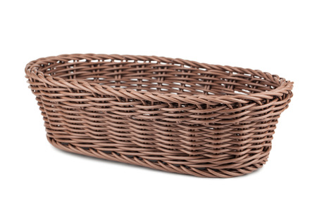 braiding: Braiding small wicker basket isolated on white background