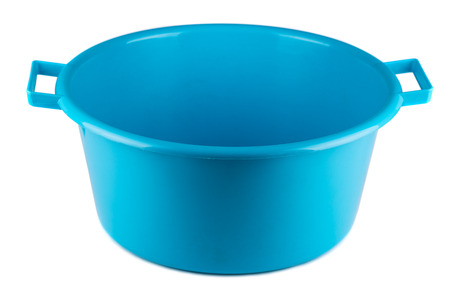Blue plastic bowl isolated on white background