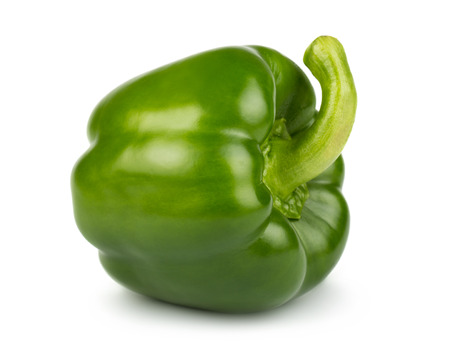 Green sweet pepper isolated on white background
