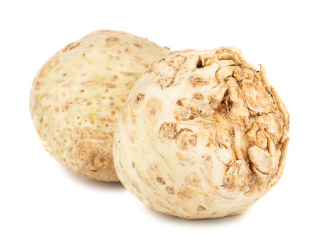 celery: Pair of fresh celery root isolated on white background