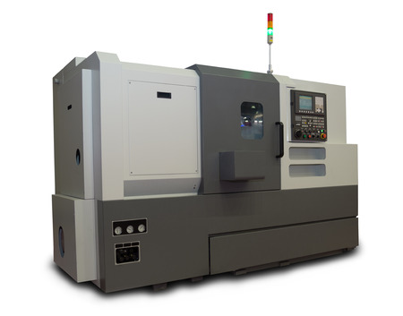Computerized CNC Gray Lathe isolated on white background 写真素材