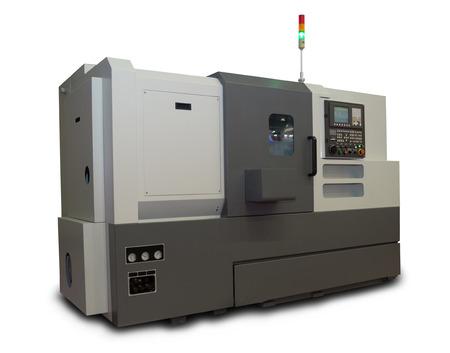 maquinaria pesada: Computarizado CNC Torno gris aislado en el fondo blanco Foto de archivo