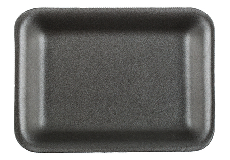 food tray: Black empty food tray isolated on white background