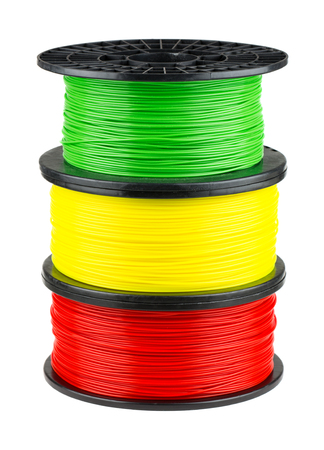 pva: Three ABS or PLA filament coils for 3d print isolated on white background