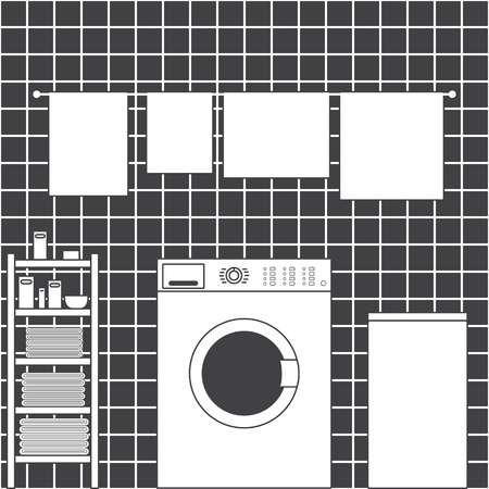 front loading: Grey laundry room interior with ceramic tile wall, front loading type washing machine, laundry basket, drying towels and shelving with clean towels, packs of washing powder, bar of soap and small basin in flat style Illustration