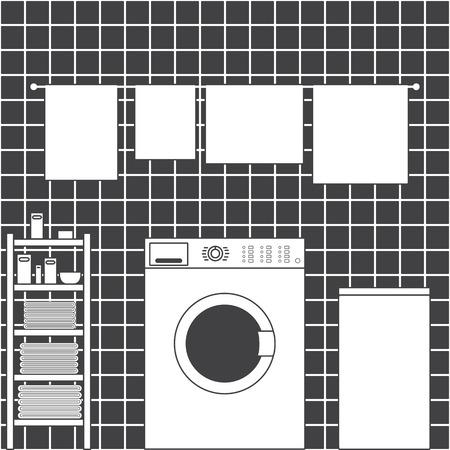 lavander: Lavadero gris interior con pared de baldosas de cerámica, frontal lavadora de tipo de carga, cesto de la ropa, el secado de toallas y estanterías con toallas limpias, paquetes de detergente, jabón y pequeña cuenca en estilo plano