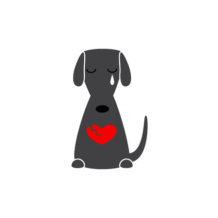 parting: Cute white contoured sitting dog with closed eyes, big tear, broken red colored heart isolated on grey background. Concept of quarrel, parting, broken heart, big love and strong passion
