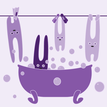 foam bubbles: Cute bunnies drying and bathing in foam bubbles