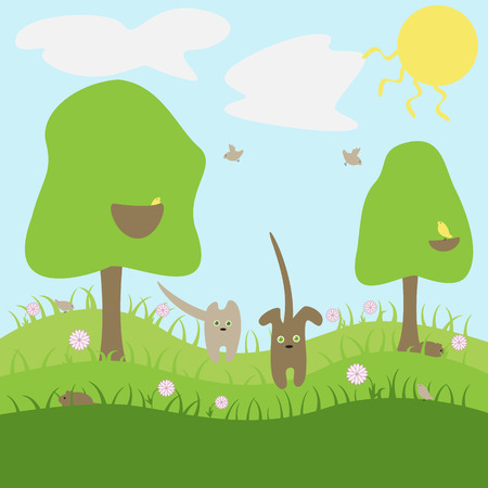 summer dog: Cat and dog walking in grass and flowers in bright summer day Illustration