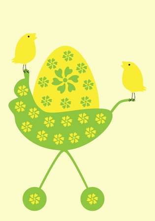 groene bloemen: Yellow egg decorated with green flowers in pram and two cute birds sitting on it Stock Illustratie