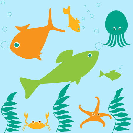 marine scene: Scene from life of different marine inhabitants Illustration